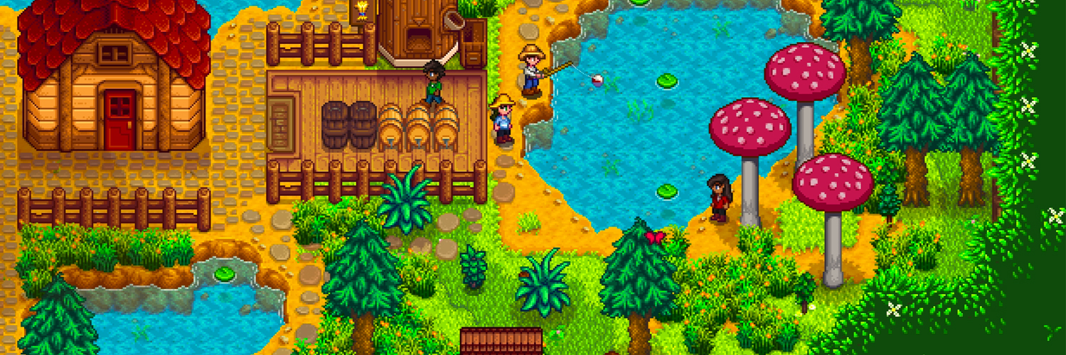 Two characters fish from a lake in a blissful stardew valley farm scene with a windmill and forest.