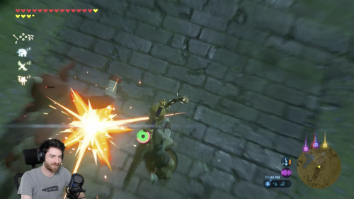 Hrothmar is playing Zelda: Breath of the Wild and is accomplishing a Speed Run technique, bouncing off of an enemy's head to gain speed.