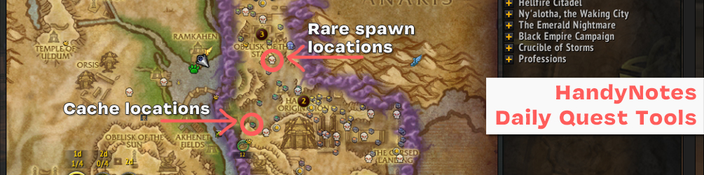 Arrows point to a Skull icon and a Box icon, both represent Rare and Cache locations on the map respectively. These are for 8.3's N'zoth Daily quests which need you to kill rare mobs and open caches, which aren't always available, so their locations are shown instead.