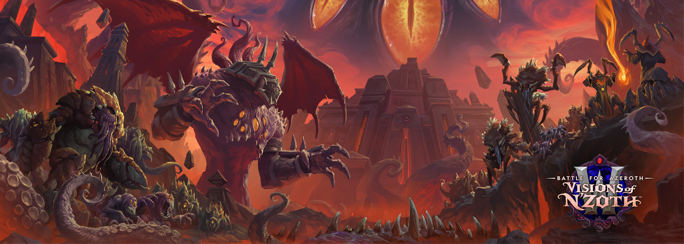 N'Zoth's minions, covered in spikes, eyeballs, and old-god-like features are crawling over mountains and crags in the earth, approaching the camera