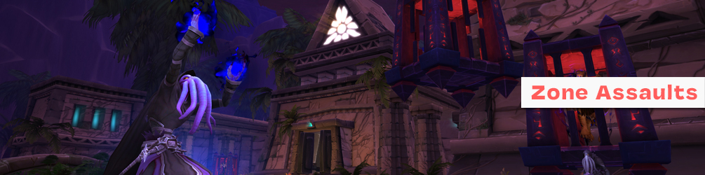A mind-flayer swirls his hands around casting corrupted magic as a nearby citizen of Uldum is trapped inside of a cage, implying that Nzoth is taking over the region.