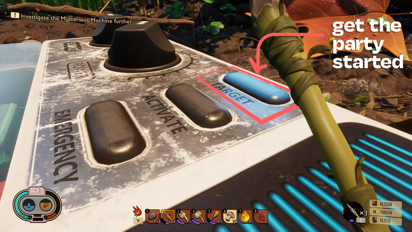 A view of the top of the 'Mysterious Machine' with an arrow pointing to the 'Target' button, which starts the main story line.
