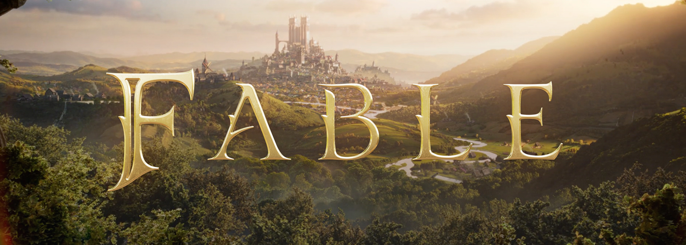 The golden word FABLE hovers in the air in front of a medieval fantasy castle in the background, with a lush forest and winding river in the foreground, creating a feeling of open outdoor ambiance