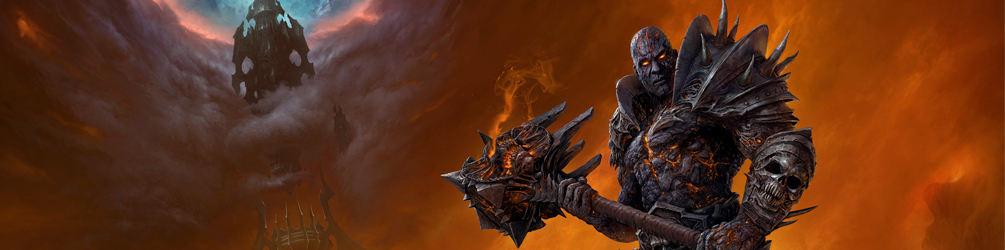 Bolvar Fordragon, a man with black armor covered in skulls and ashen skin, cracked with lava-like flames underneath wields a large hammer as he stares into the camera in front of a smokey background.