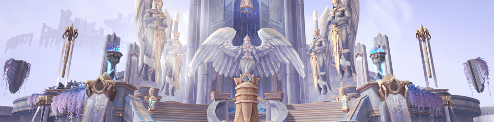 Angelic statues of Batsion rise above the background with wings spread, weapons held, and bathed in light. They span the courtyard, creating a semi-circle of ominous but welcoming figures in this castle-in-the-sky.